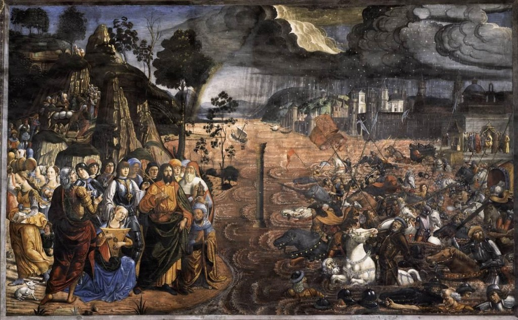 Crossing of the Red Sea, Cosimo Rosselli c.1481.  Note the incorporation of flood imagery.