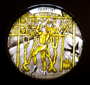Labours of the Months: March, stained glass c. 1450-1475