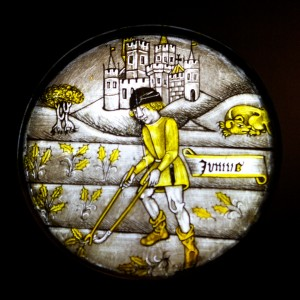 Labours of the Months: June, stained glass c. 1450