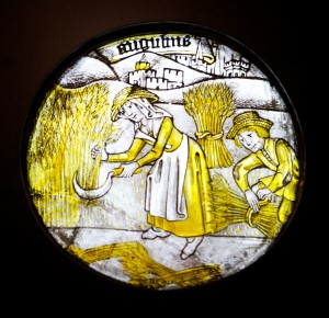 Labours of the Months: August, stained glass c. 1450