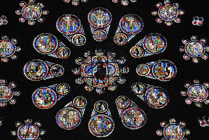 West Rose (1200s) - The Last Judgement - in the centre, Christ surrounded by 12 apostles