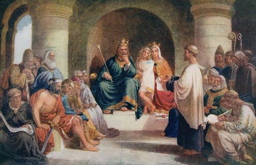 King Alfred (849-99) submitting his laws to the Witan. John Bridges.