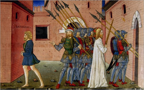 Pilate liberates Barabbas and orders Jesus is crucified. Codex of Predis (1476). Italy.