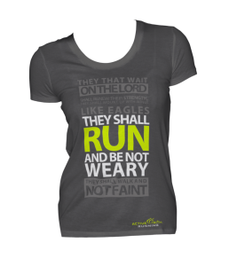 """This shirt says """" I am better than you because I run, and I like abusing scripture."""""""