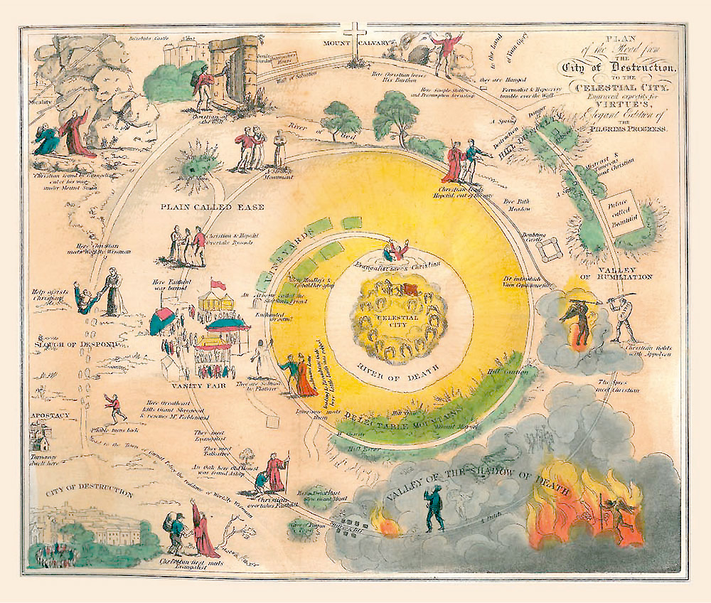 Map from 1960's edition of Puritan author John Bunyan's, Pilgrim's Progress.  Spiral reminiscent of Dante.   Life is about the journey to virtue, or death.