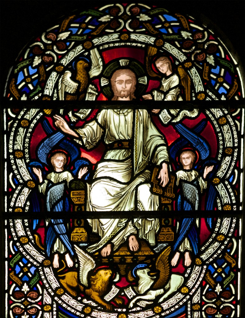 Christ Enthroned.  Surrounded by the four Gospels., Stained Glass, Christ Church Cathedral. Oxford, England.