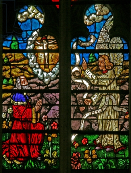 A Vision of the Crucifixion.  Cathedral of St. Peter St. Paul. Troyes France. C.16th. Stained Glass.