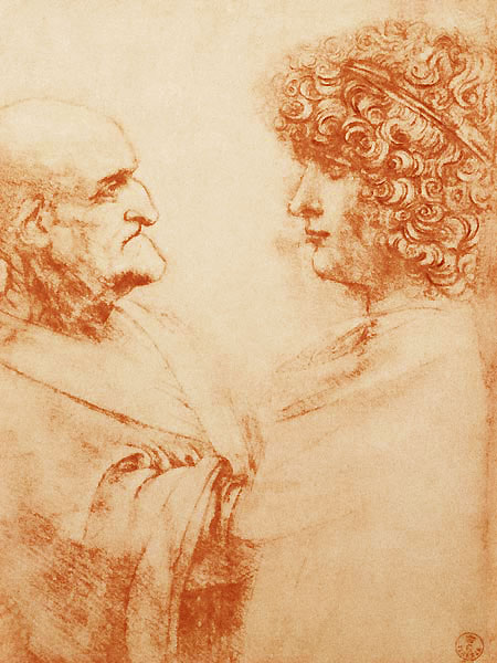 Leonardo da Vinci, Two Heads in Profile.  Da Vinci had a theory that you could not appreciate beauty without the ugly.  And so the two are in tension, in Paradox.