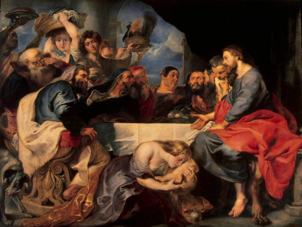 Feast in the House of Simon the Pharisee, Peter Paul Rubens, c. 1620 Interesting the he painted the two episodes similarly and titled them both feasts.