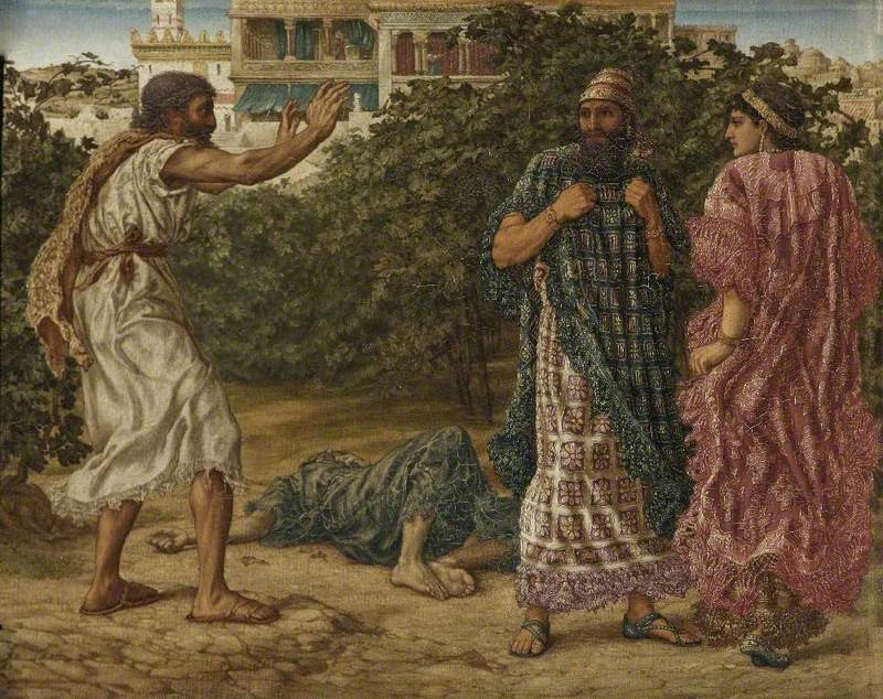 Elijah Prophesies to Ahab and Jezebel Their End. Thomas Matthews Rooke. c.1879